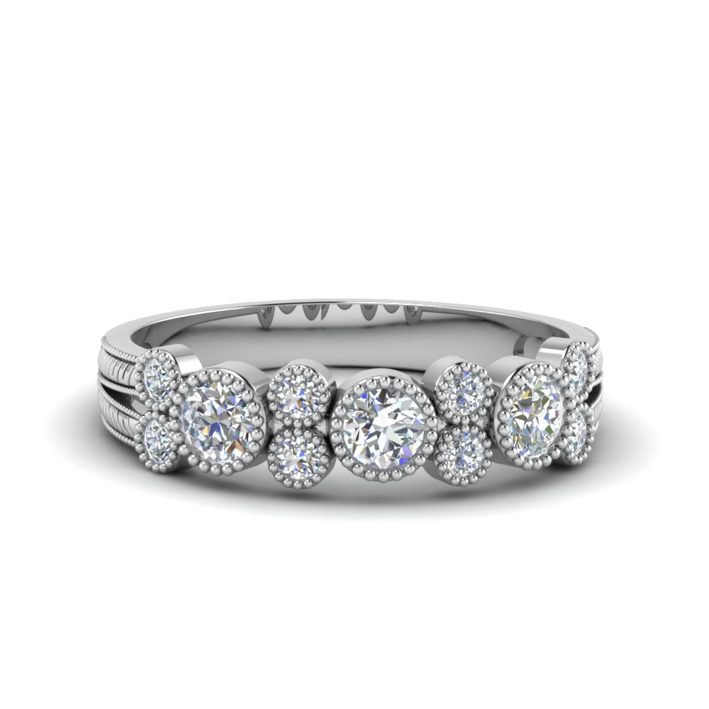 0.65 Ct. Engraved Round Diamond Band