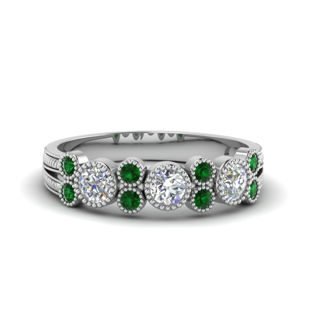 Emerald White Gold Diamond Band