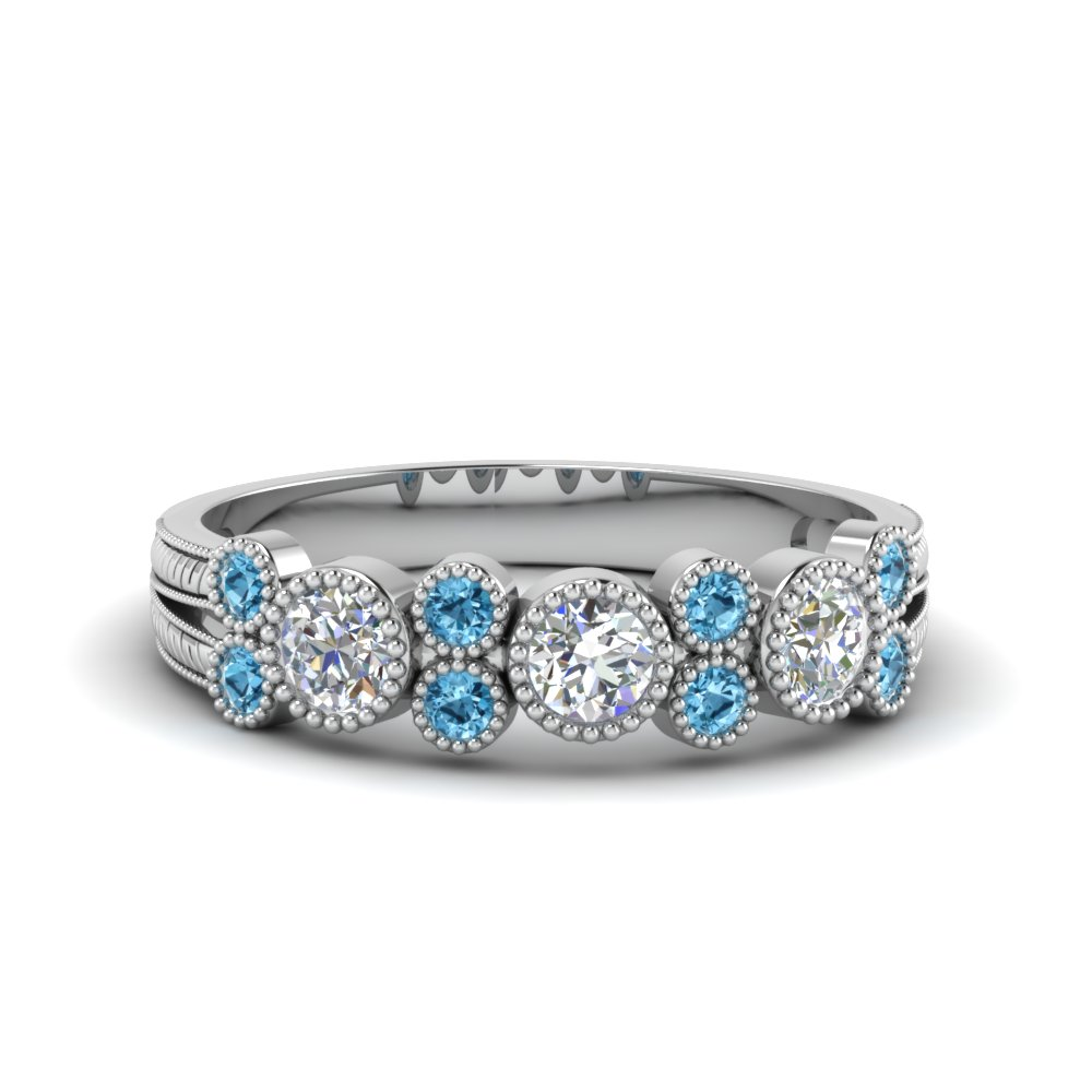 Blue Topaz Wedding Bands For Her