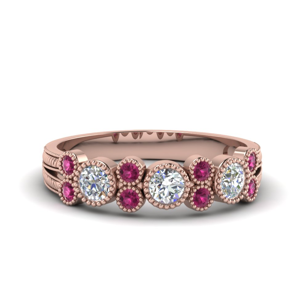 milgrain bezel round diamond band with pink sapphire in 14K rose gold FDWB2300GSADRPI NL RG