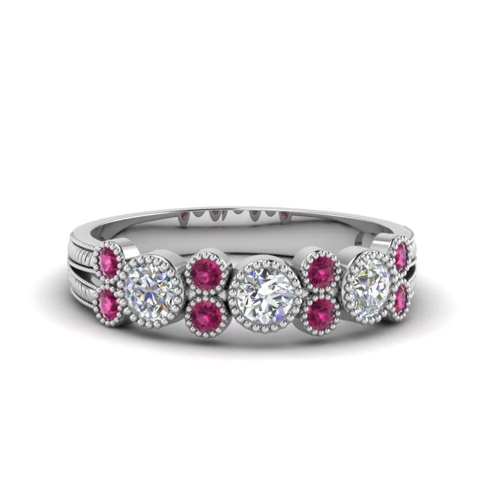 milgrain bezel round diamond band with pink sapphire in 950 platinum FDWB2300GSADRPI NL WG