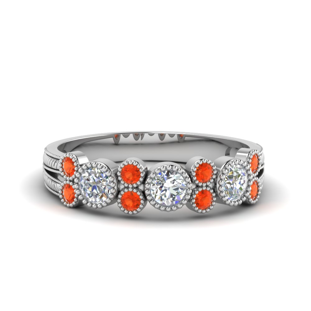 Orange Topaz Round Diamond Band