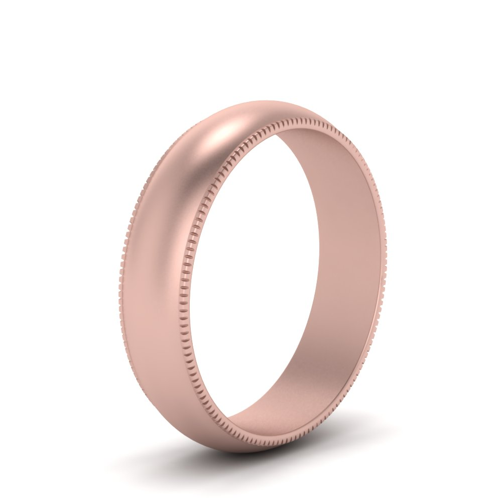 Milgrain Comfort Fit Band In 14K Rose Gold | Fascinating Diamonds