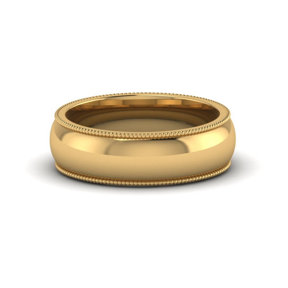 milgrain comfort fit mens wedding band anniversay ring in 14K yellow gold FDM8115B NL YG