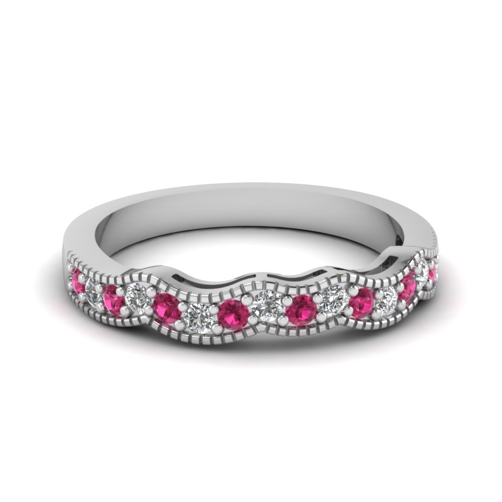 Milgrain Curve Diamond Women Band