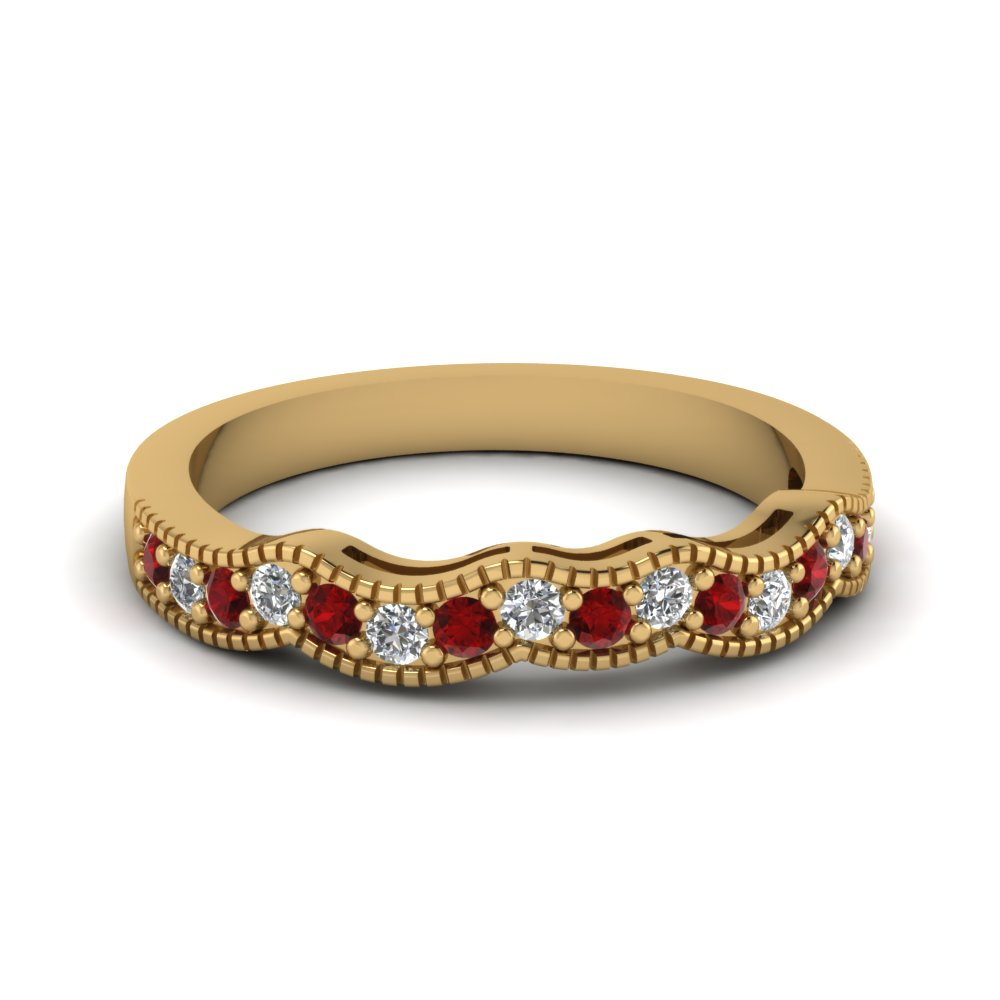milgrain curve diamond women wedding band with ruby in 14K yellow gold FDENS3053BGRUDR NL YG
