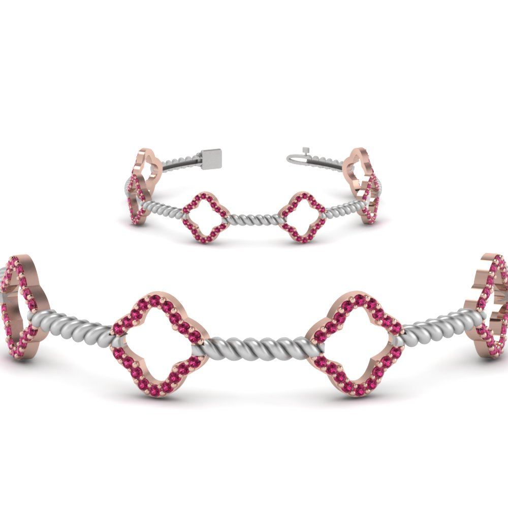 milgrain diamond 2 tone bracelet with pink sapphire in 14K rose gold FDOBR70340GSADRPIANGLE2 NL RG GS