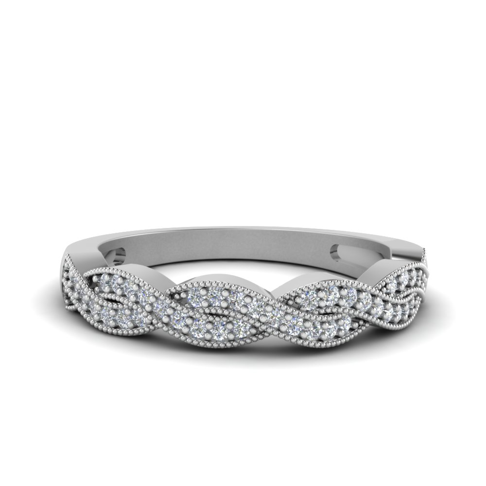 milgrain diamond twisted wedding band in FDENS3031B NL WG