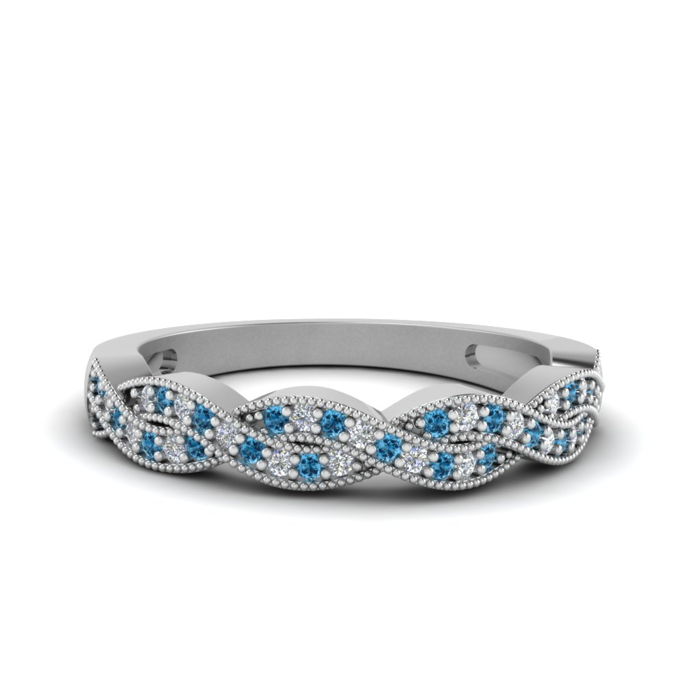 milgrain diamond twisted wedding band with blue topaz in FDENS3031BGICBLTO NL WG