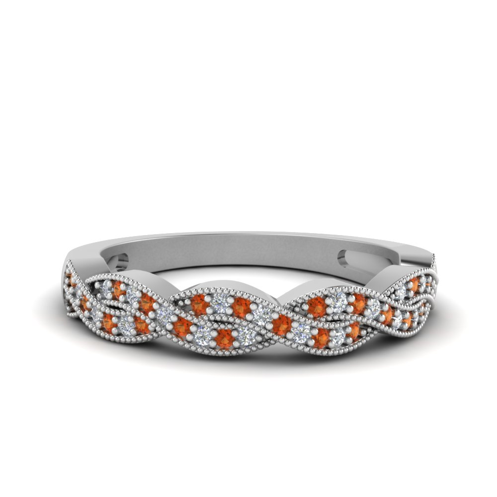 milgrain diamond twisted wedding band with orange sapphire in FDENS3031BGSAOR NL WG