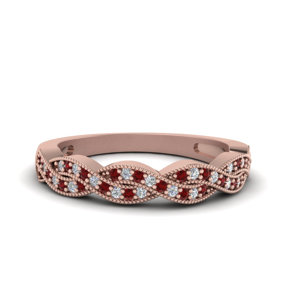 milgrain diamond twisted wedding band with ruby in FDENS3031BGRUDR NL RG