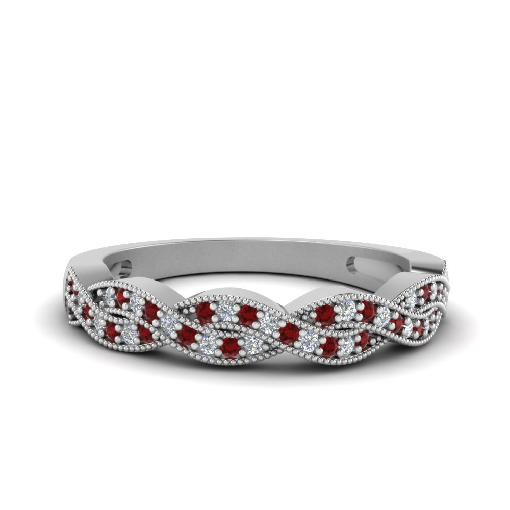 milgrain diamond twisted wedding band with ruby in FDENS3031BGRUDR NL WG