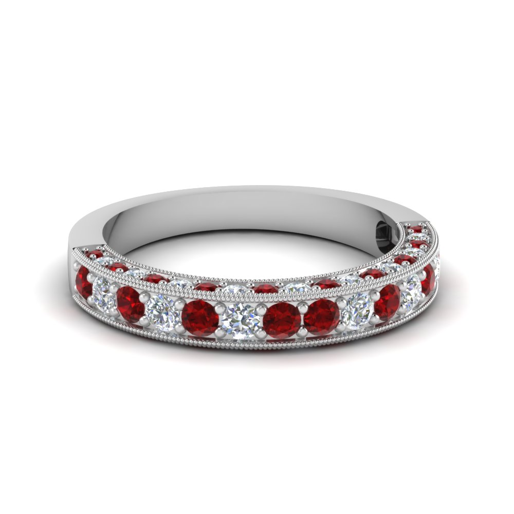Platinum Milgrain Ruby Wedding Band