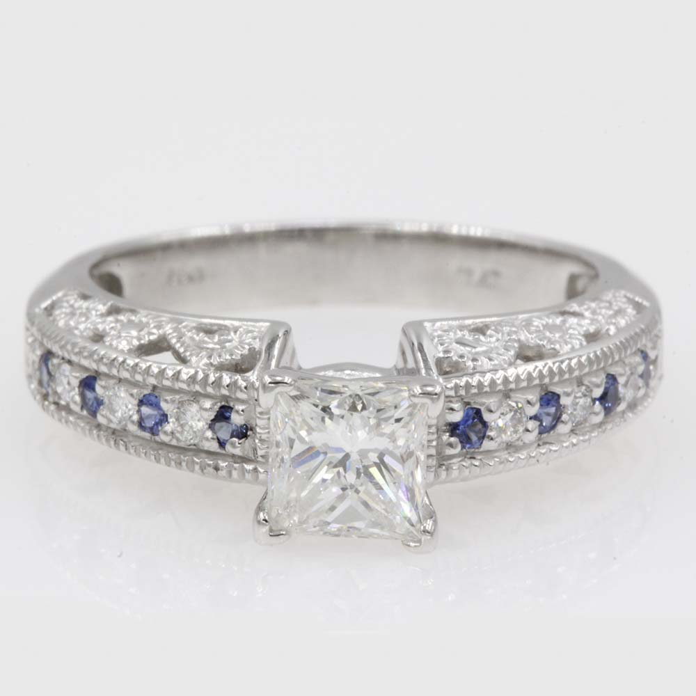 milgrain filigree diamond engagement ring with sapphire in 950 platinum FDENS613PRRGSABL