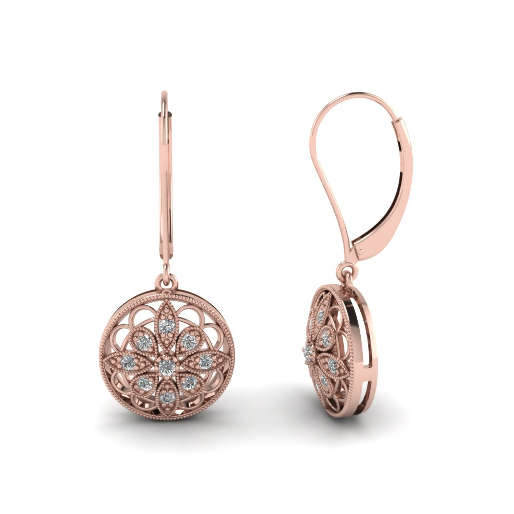 Milgrain Flower Round Diamond Dangle Earring In 14K Rose Gold