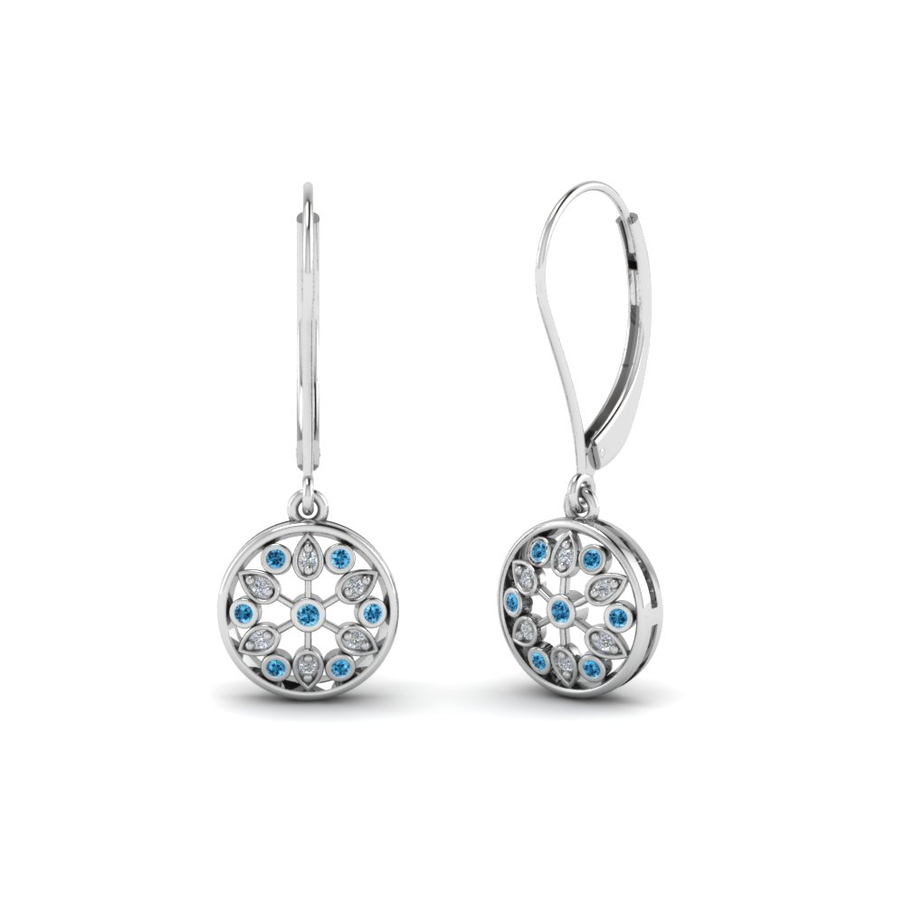 Lever Back Blue Topaz Drop Earring In Fdear8677gicblto Nl Wg