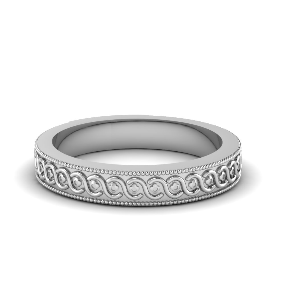Milgrain Infinity White Gold Ring