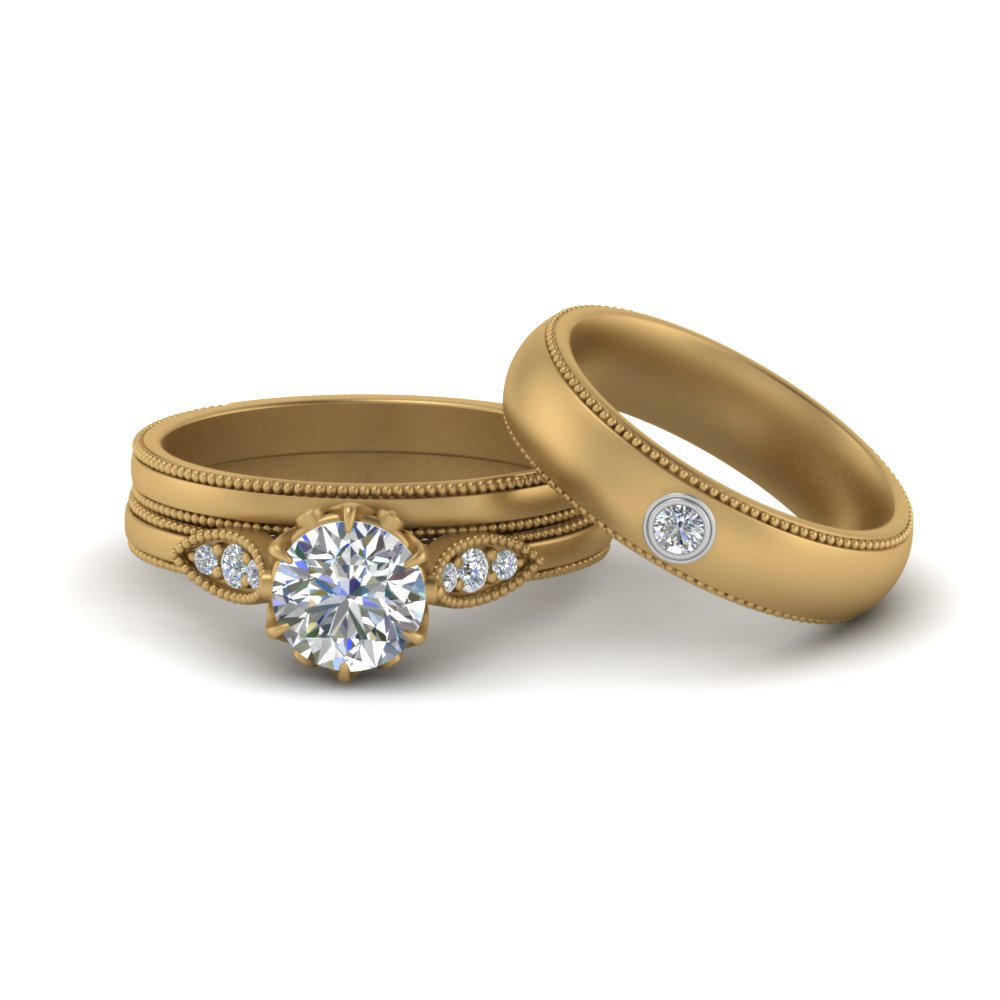 Milgrain Matching Wedding Set For Couples