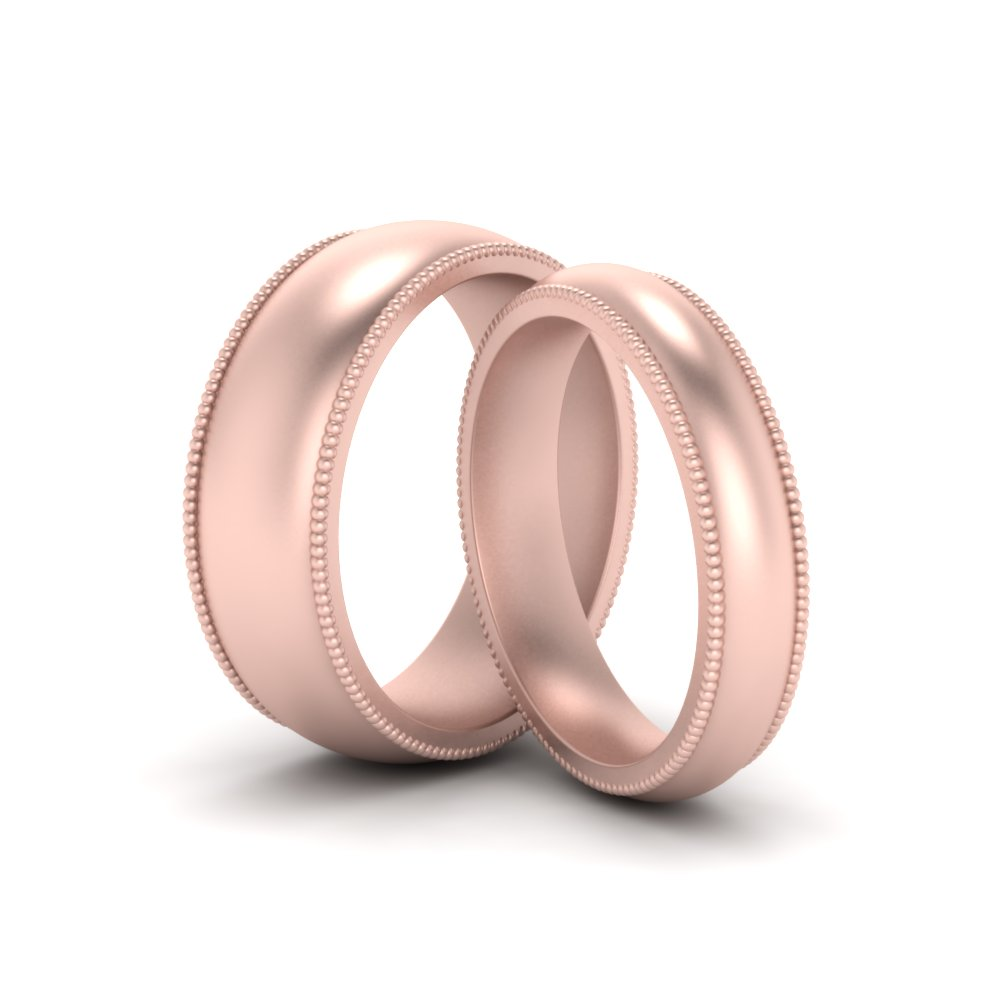 Milgrain Matching Wedding Rings For Him And Her In 14K Rose Gold ...