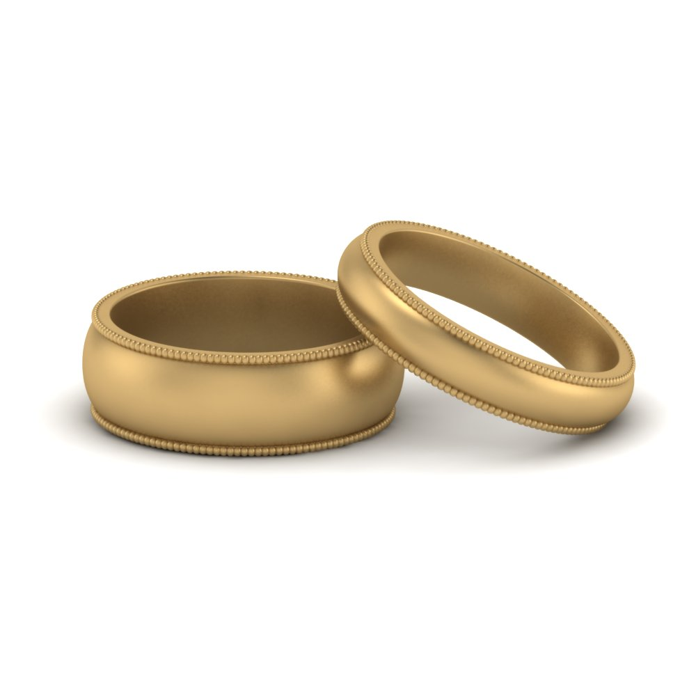 Milgrain Matching Band For Him And Her