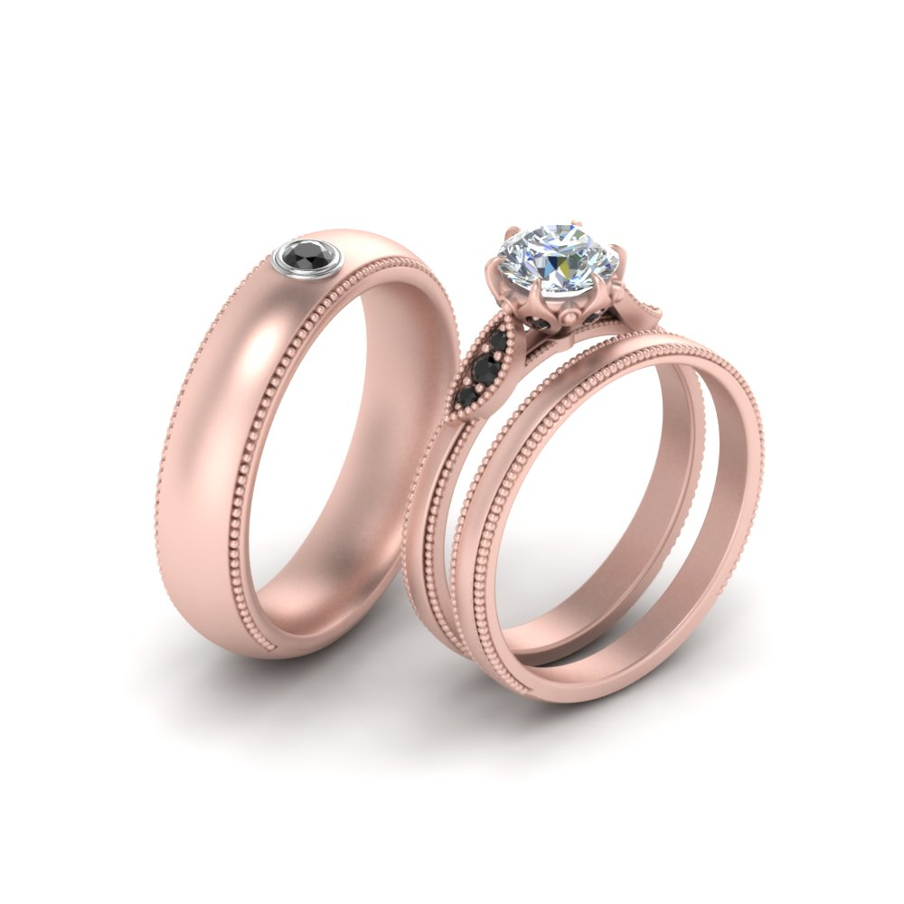 Milgrain Matching Wedding Set For Couples With Black Diamond In 14K ...