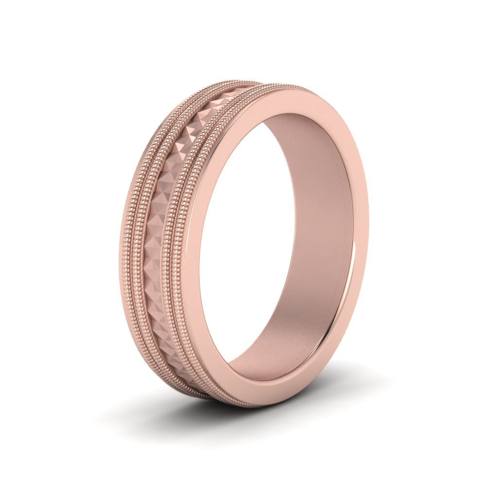 Milgrain Mens Wedding Band In 14K Rose Gold | Fascinating Diamonds