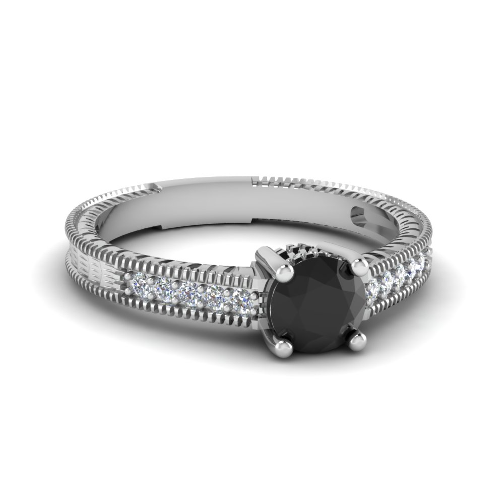 Milgrain Pave Black Diamond Ring