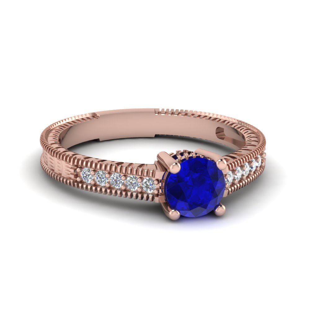 Vintage Style Blue Sapphire Engagement Ring in Rose Gold