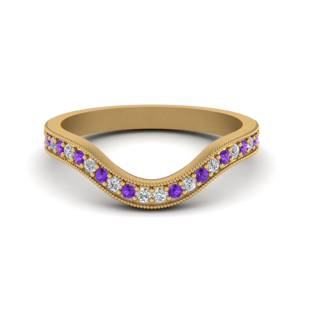 milgrain pave curved diamond wedding band with violet topaz in FDENS3159BGVITO NL YG.jpg