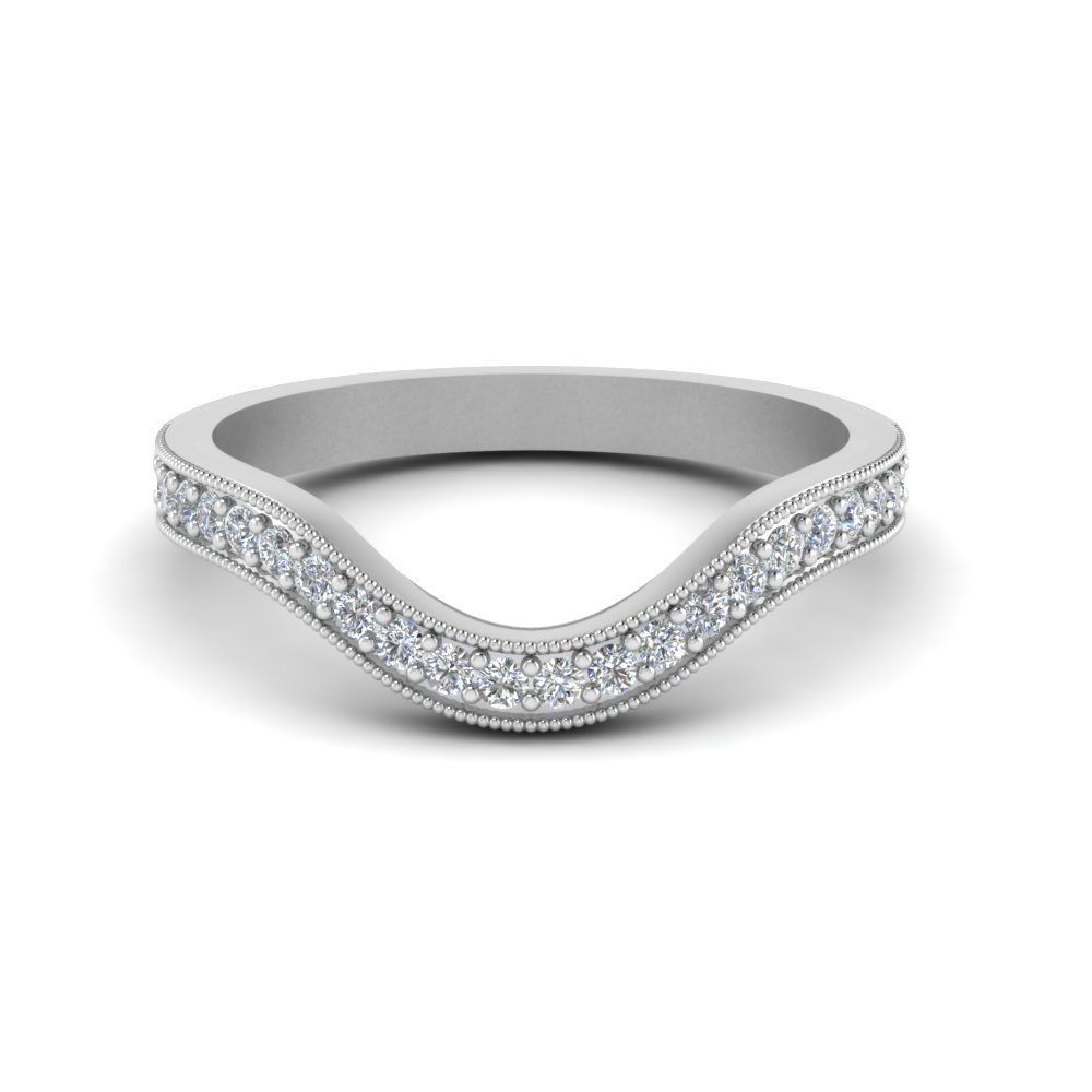 af4f251e5 Milgrain Pave Curved Diamond Wedding Band In 14K White Gold ...