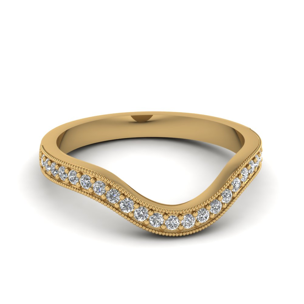 Yellow Gold Milgrain Pave Curved Diamond Wedding Band