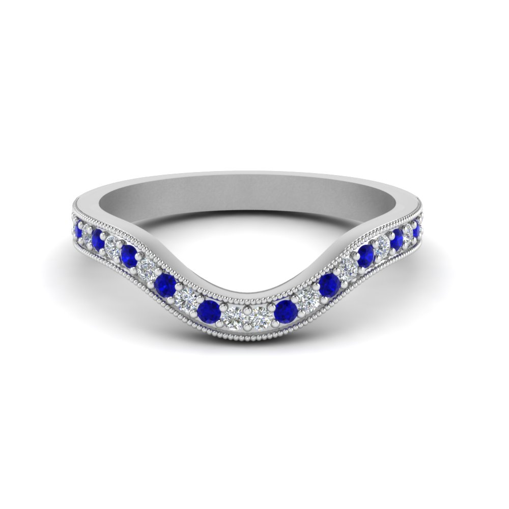 476796e34 milgrain pave curved diamond wedding band with sapphire in FDENS3159BGSABL NL  WG