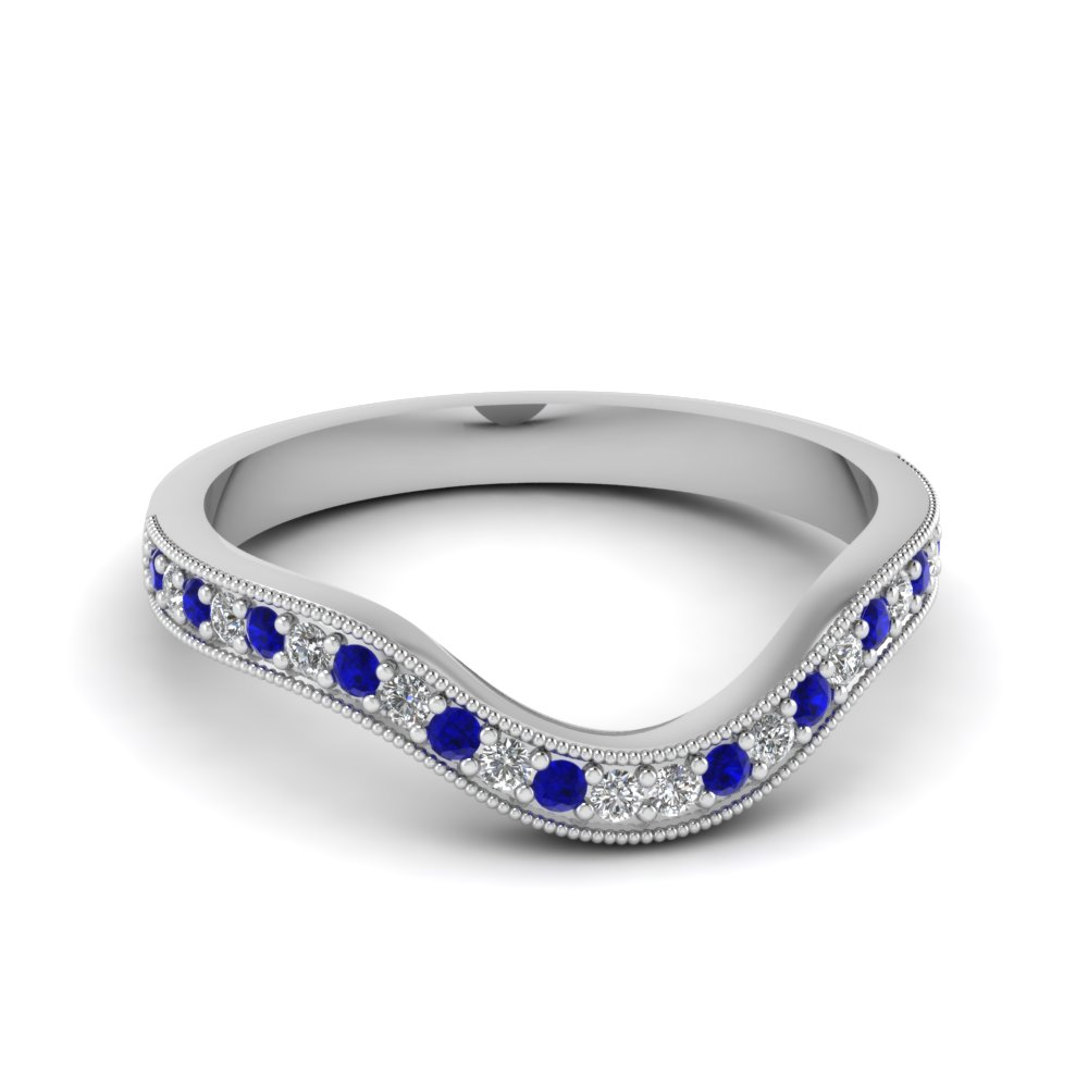 milgrain pave curved diamond womens wedding band with blue sapphire in 14k white gold fdens3159bgsabl nl