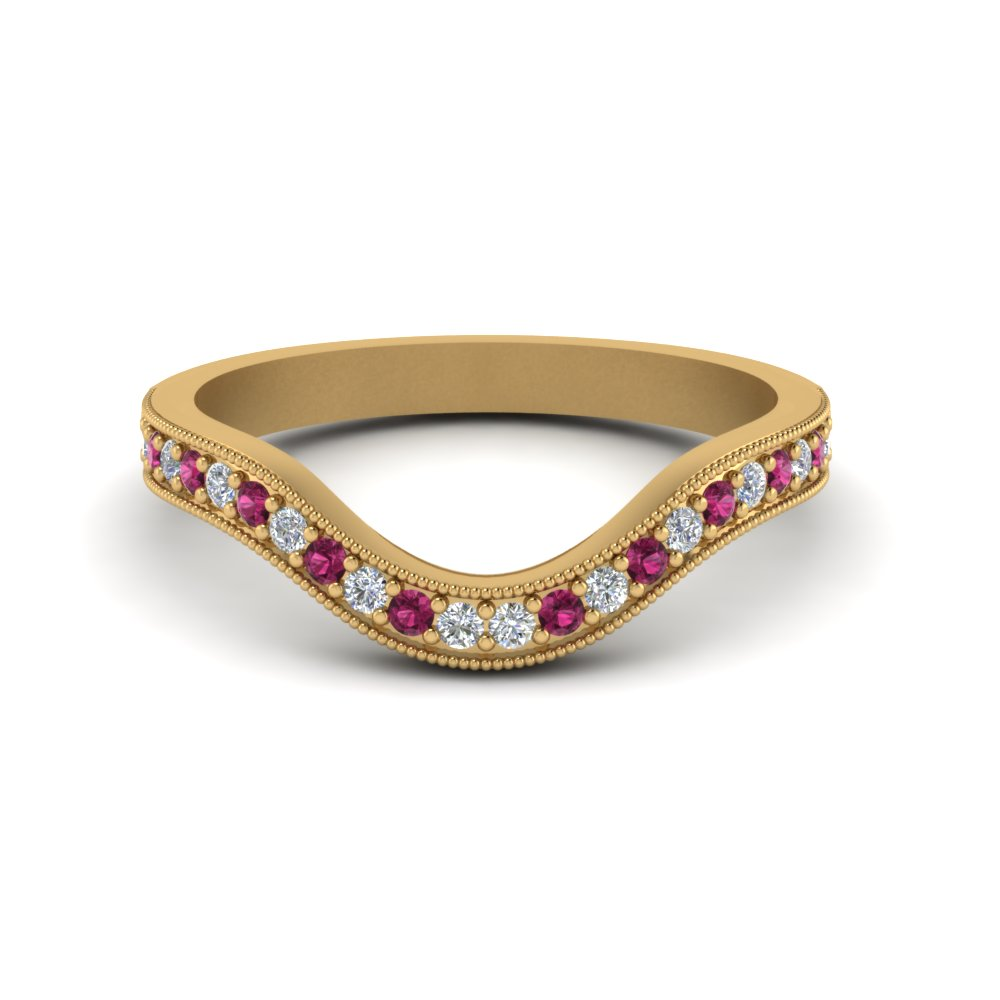 milgrain pave curved diamond wedding band with pink sapphire in FDENS3159BGSADRPI NL YG