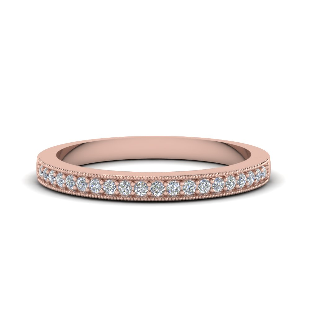milgrain pave diamond band in FD62254B NL RG
