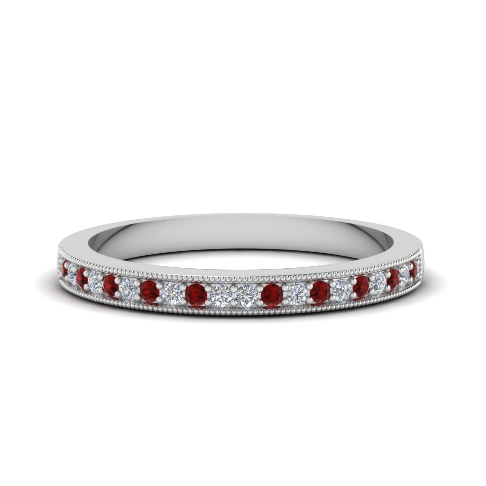 milgrain pave diamond wedding band with ruby in FD62254BGRUDR NL WG