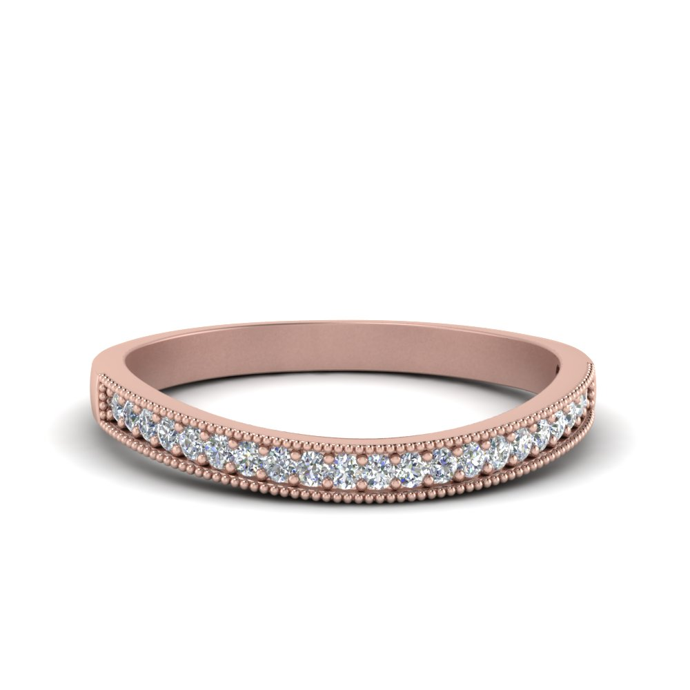 Milgrain Pave Diamond Wedding Band In 14K Rose Gold