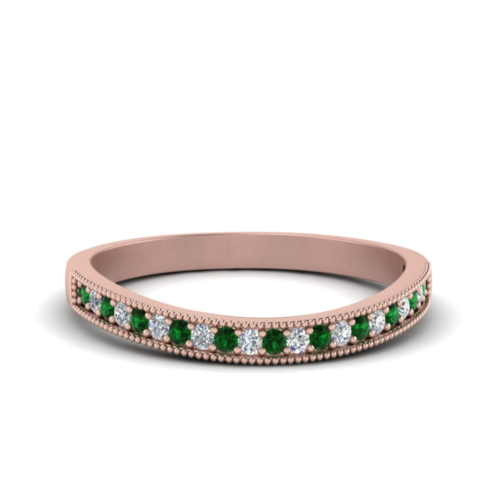 Milgrain Emerald Wedding Band