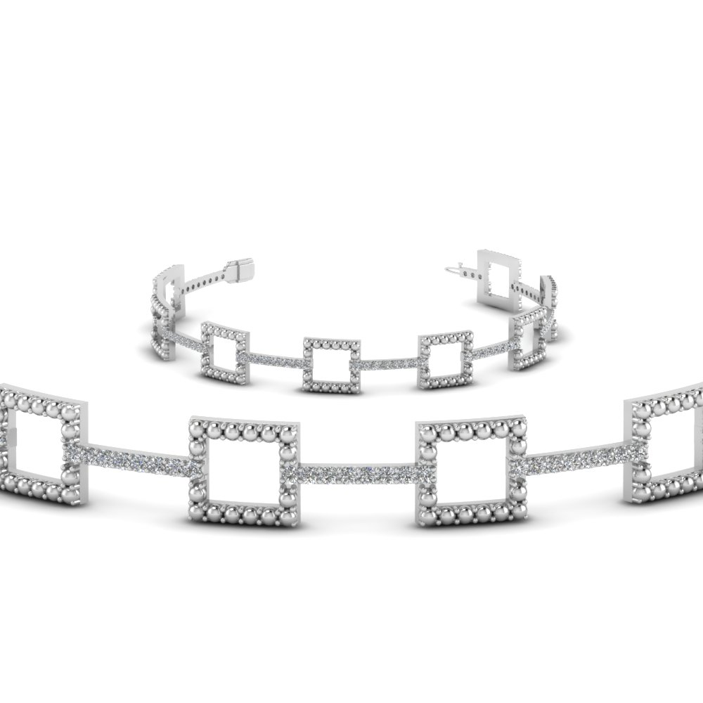 Milgrain Square Diamond Bracelet In 14K White Gold