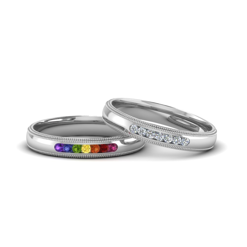 Gay Milgrain Wedding Bands
