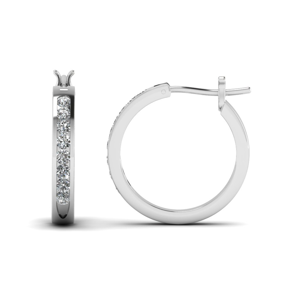 Round Diamond Hoop Earring