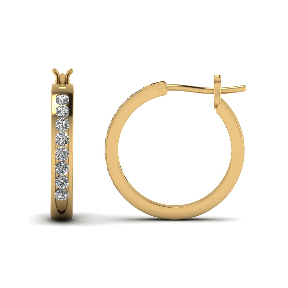 Channel Diamond Hoop Earring