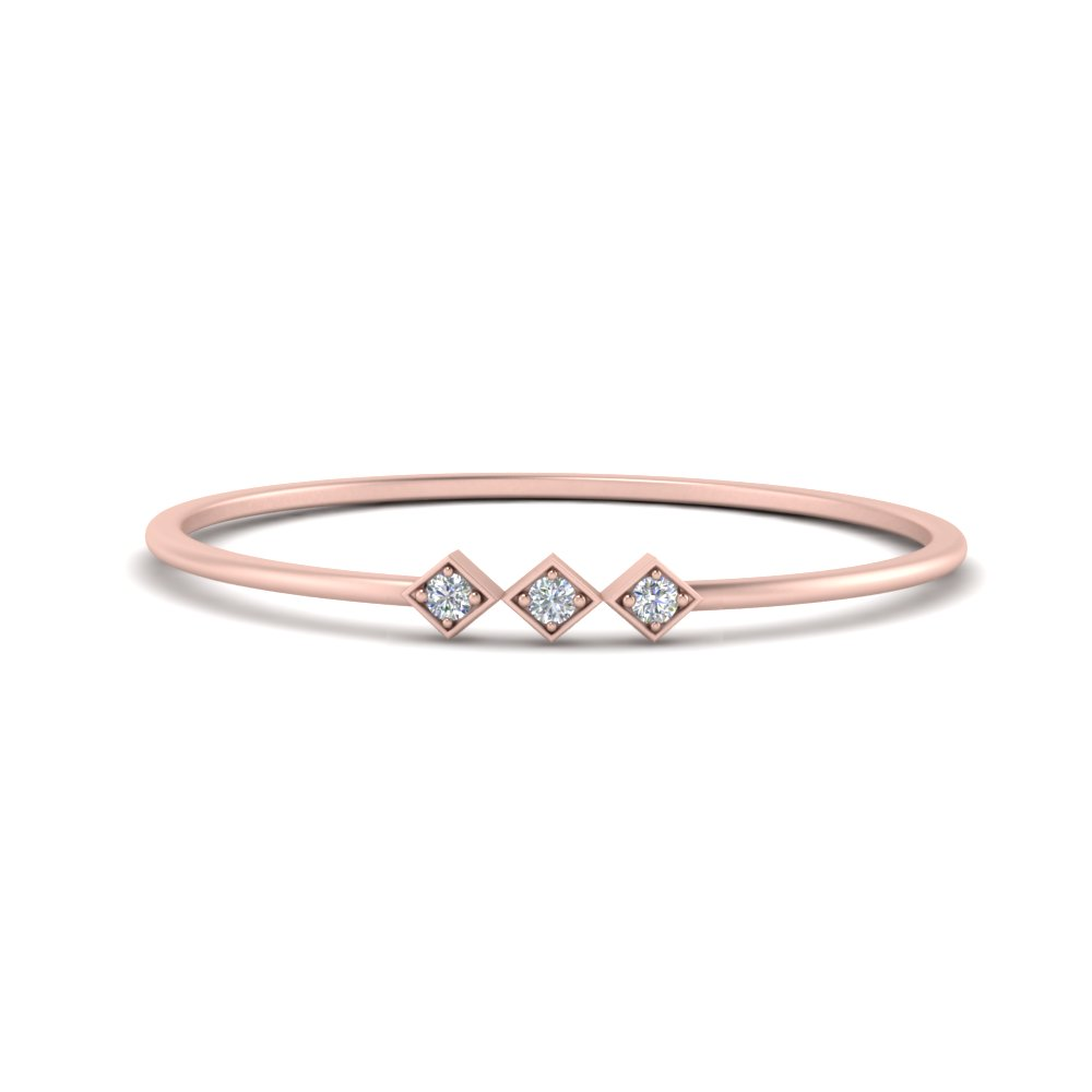 minimalist 3 stone band in 14K rose gold FD9411ROR NL RG