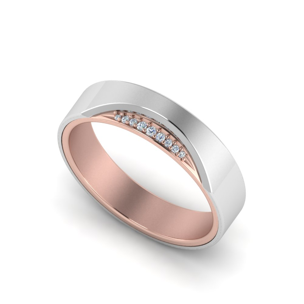 Modern Two Tone Mens Wedding Band