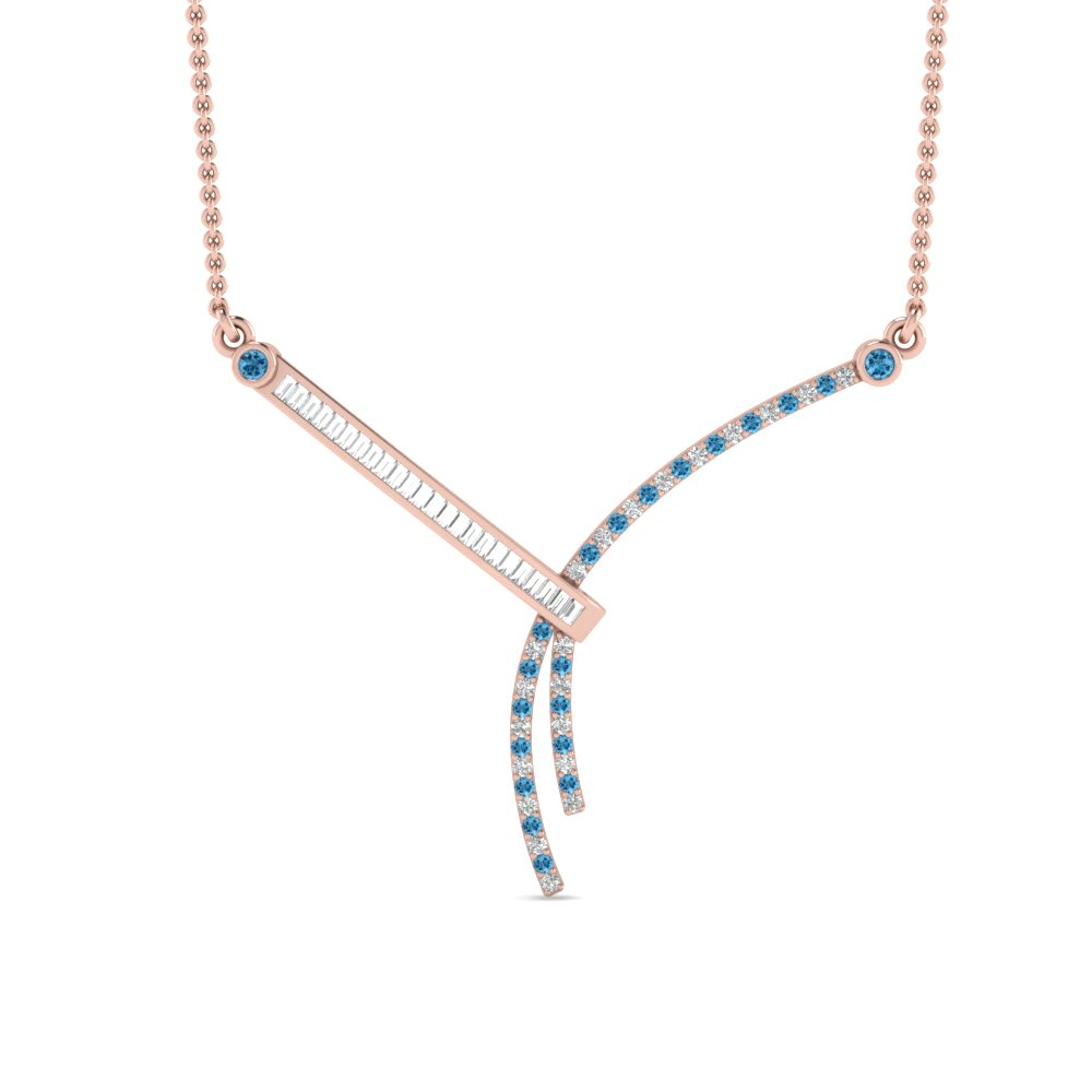 Modern Bar Diamond & Topaz Necklace