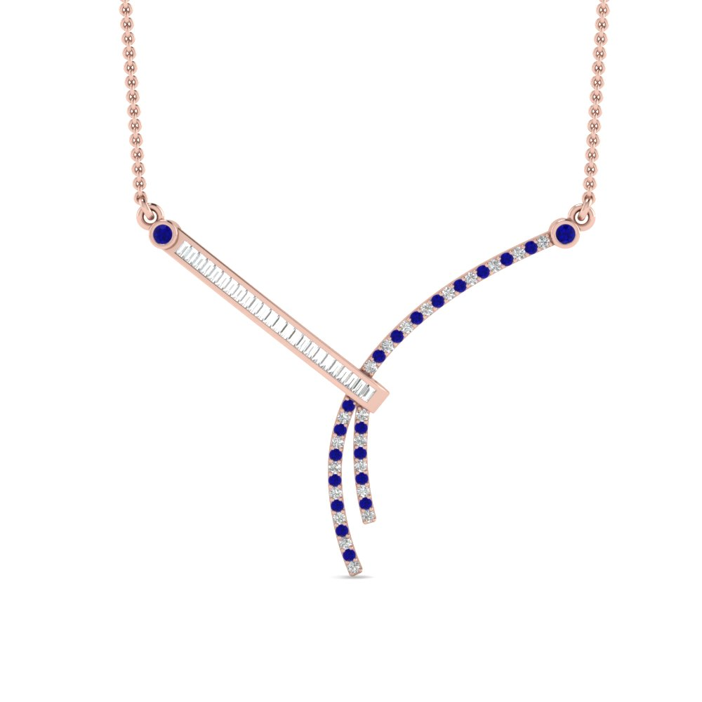 modern bar baguette diamond pendant with sapphire in FDPD8448GSABLANGLE2 NL RG