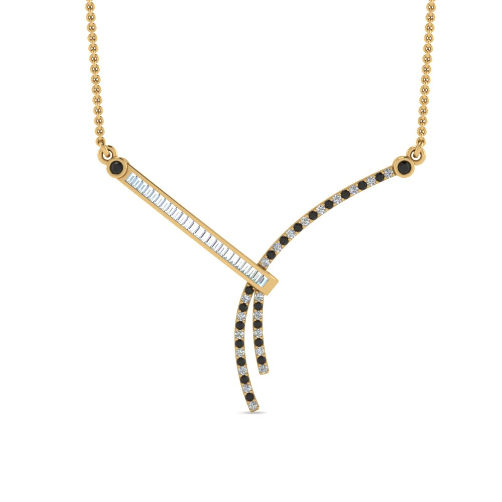 modern bar baguette pendant with black diamond in FDPD8448GBLACKANGLE2 NL YG