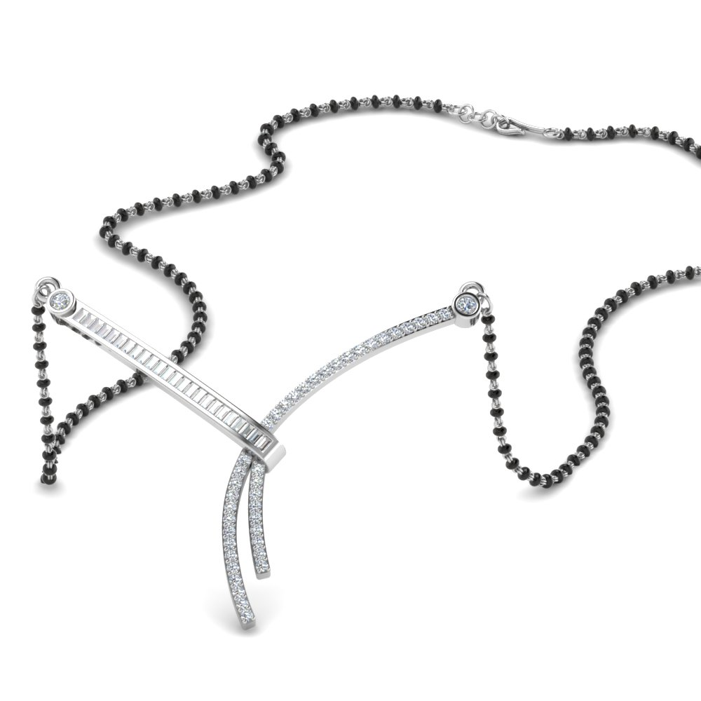18K White Gold Mangalsutra With Baguettes