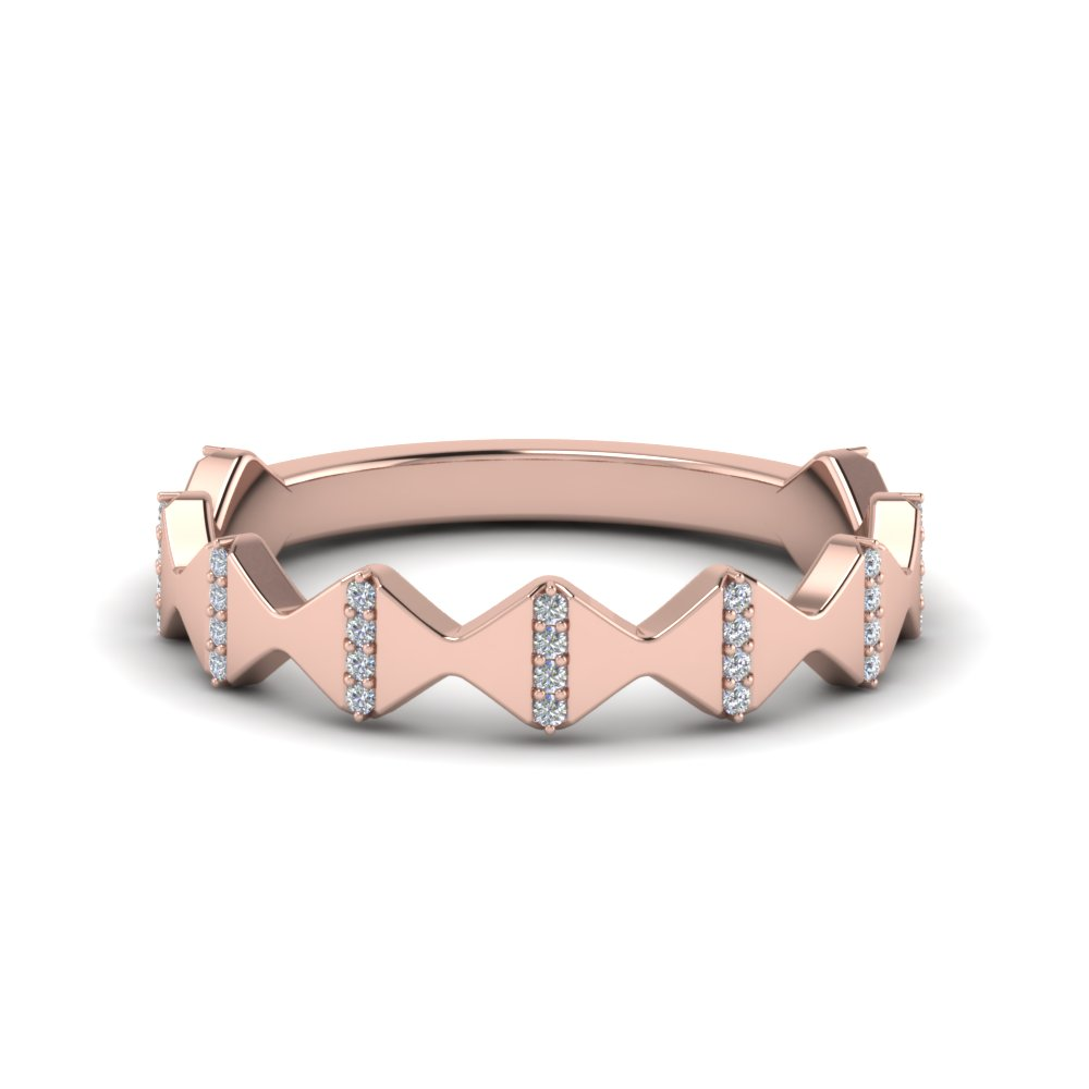 modern zigzag band with diamonds in 14K rose gold FD123074B NL RG