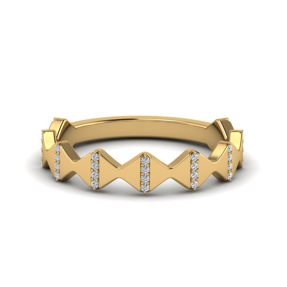 modern zigzag band with diamonds in 14K yellow gold FD123074B NL YG